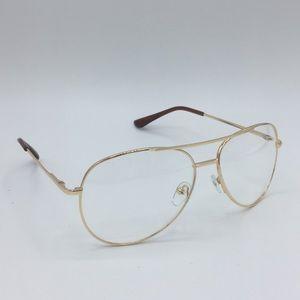 Accessories - Gold tone clear aviator glasses